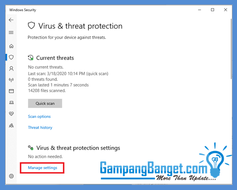 Buka aplikasi anti virus windows defender di windows 10