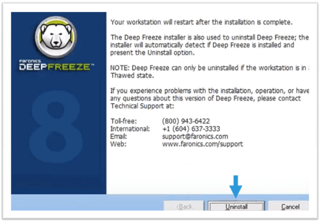 how to uninstall deep freeze